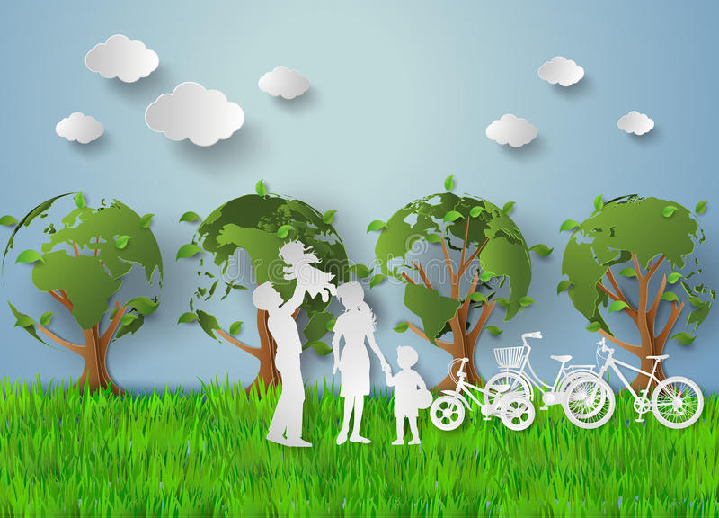 Paper cut of eco. Concept of eco with family.paper cut style vector illustration