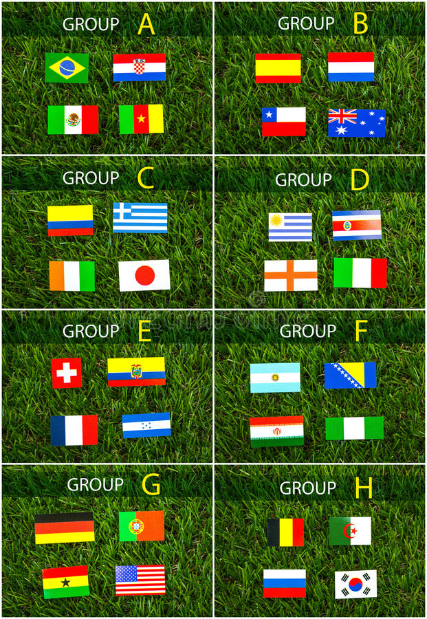 Download Paper Cut Of Flags On Grass For Soccer Championship 2014 Stock Image - Image: 41283093