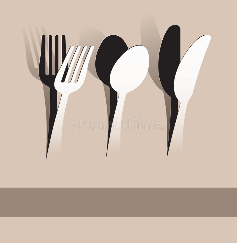 Paper cut fork, spoon and knife vector illustration