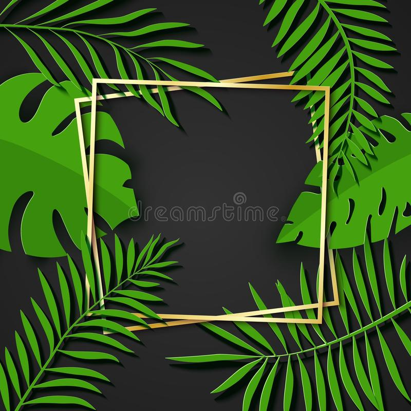 Paper cut gold frame with green tropical leaves. Two golden inclined square frames lie one on another. Vector card royalty free illustration