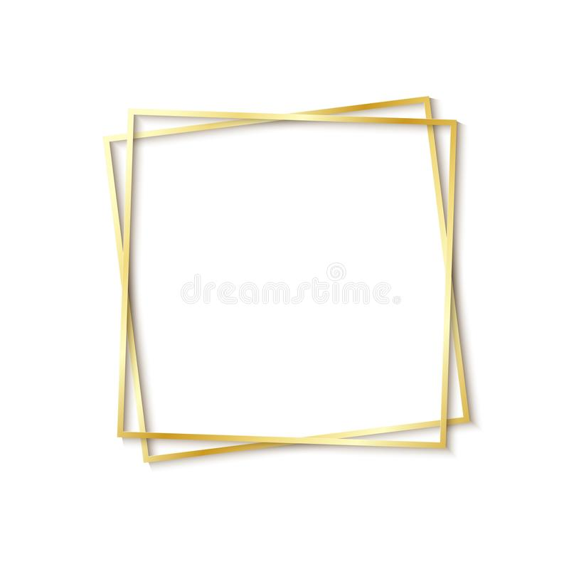 Paper cut gold frame with realistic shadow. Two golden inclined square frames lie one on another. Vector card royalty free illustration