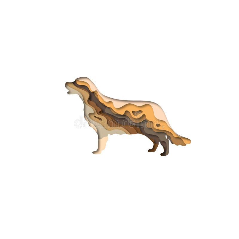 Paper cut golden retriever shape 3D origami. Trendy concept design. Vector illustration. Paper cut golden retriever shape 3D origami. Trendy concept fashion stock illustration