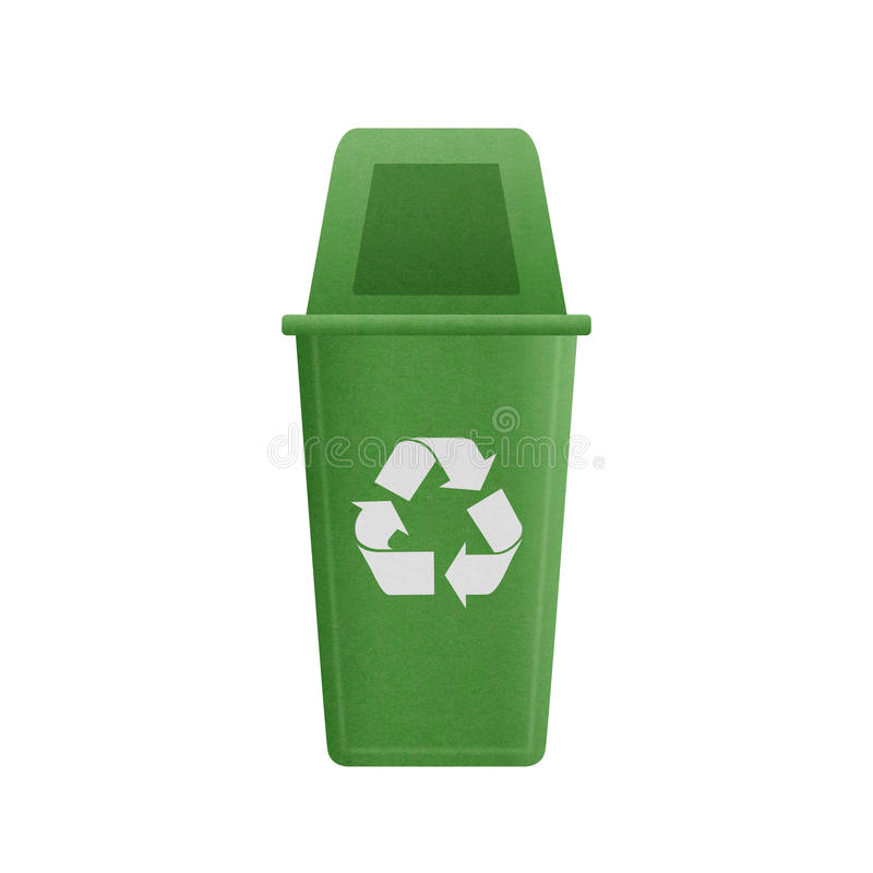 Paper cut of green recycle bin is can recycling to garbage for e. The paper cut of green recycle bin is can recycling to garbage for environmental conservation royalty free illustration