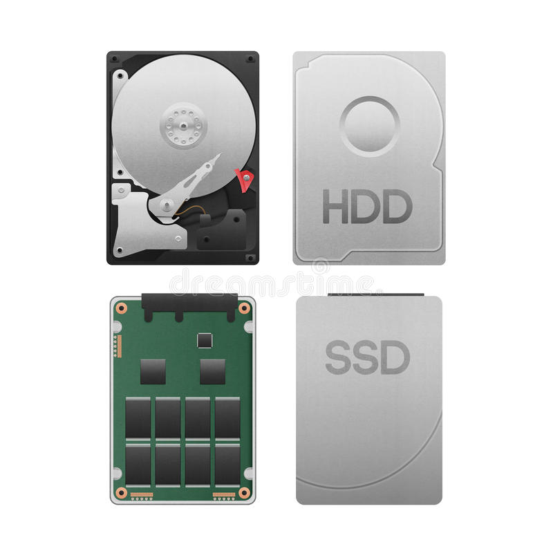 paper cut of hard disk drive vs ssd isolated is data storage equipment with SATA technology in computer for safety on white stock photo