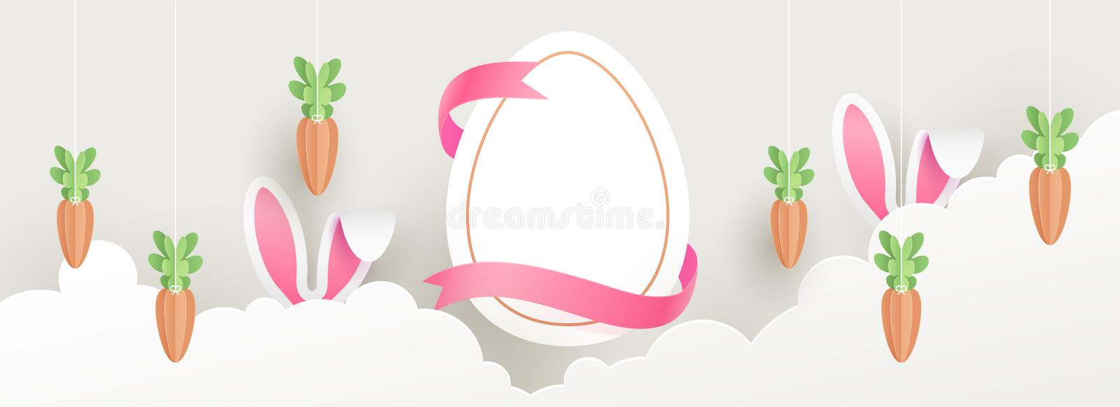 Paper cut header banner or poster design with illustration of easter egg, bunny ears and carrot on sky view background. royalty free illustration