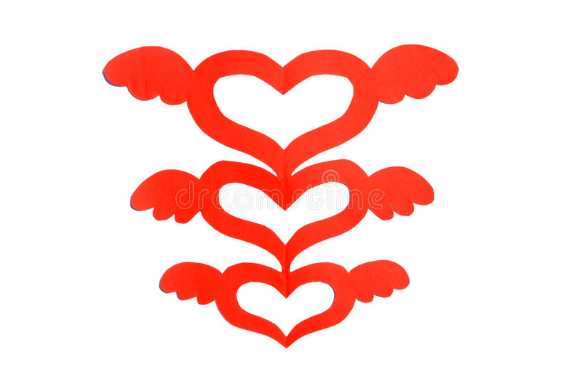 Paper cut heart shape with wing