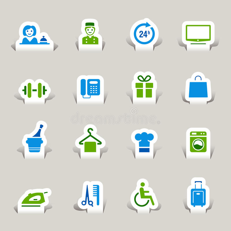 Download Paper Cut - Hotel icons stock vector. Illustration of disabled - 22134745