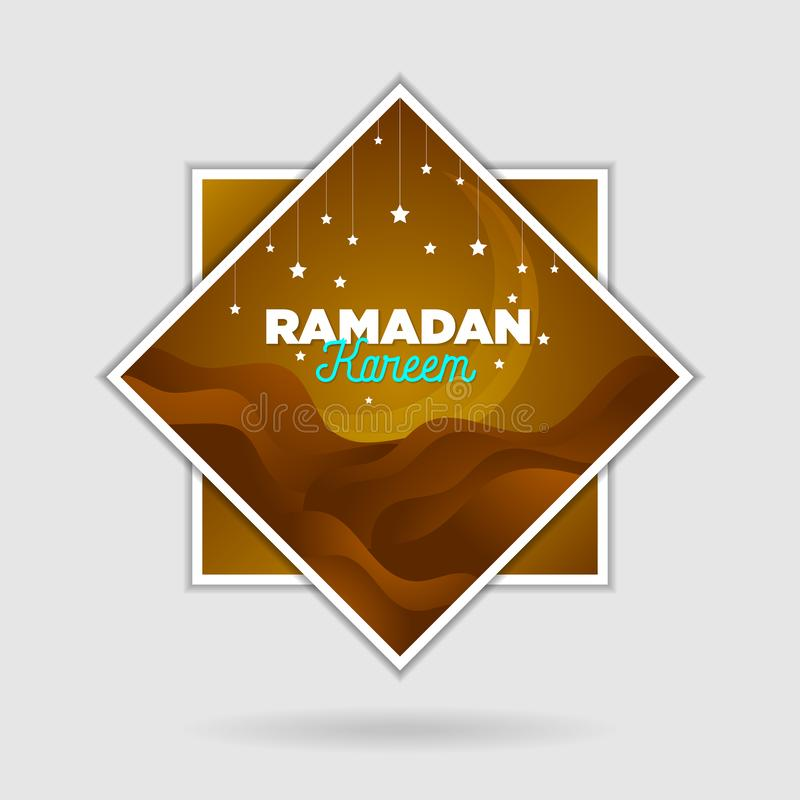 Paper cut islamic flat modern design holidays ramadan_05. Paper cut islamic flat modern design holidays ramadan brown color and simple design for tags social royalty free illustration