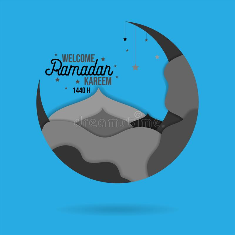 Paper cut islamic flat modern design holidays ramadan_08. Paper cut islamic flat modern design holidays ramadan gray color style in blue background royalty free illustration