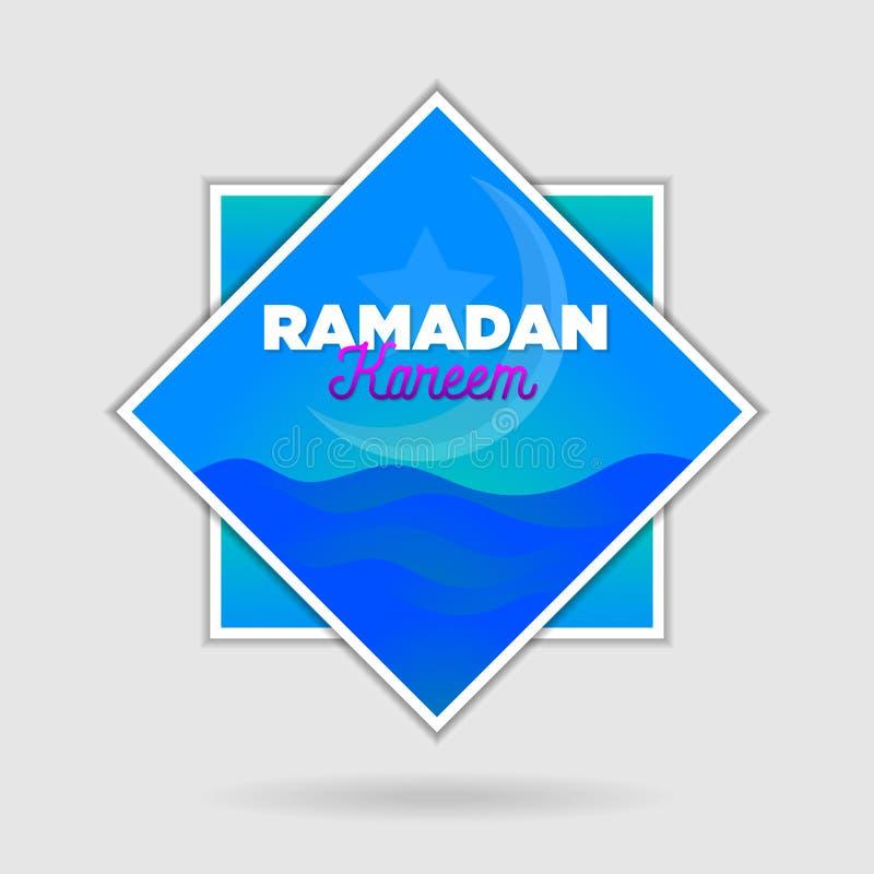 Paper cut islamic flat modern design holidays ramadan_09. Paper cut islamic flat modern design holidays ramadan flat design in blue color vector illustration