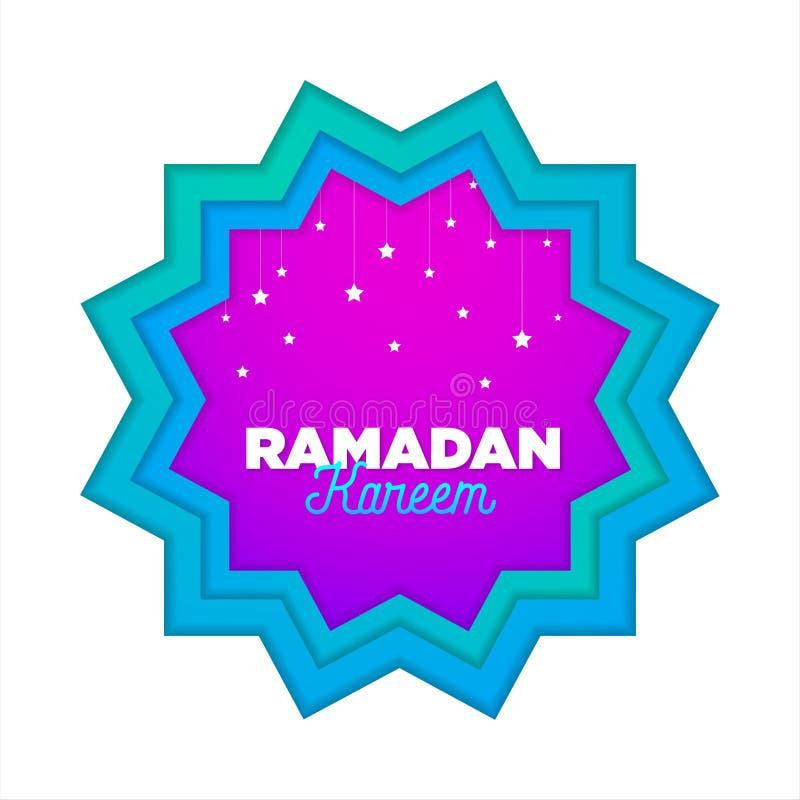 Paper cut islamic flat modern design holidays ramadan_01. Paper cut islamic flat modern design holidays ramadan violet pink blue color vector illustration