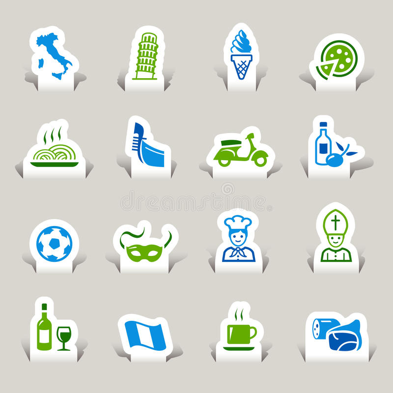 Paper Cut - Italian Icons. 16 italian culture icons set vector illustration