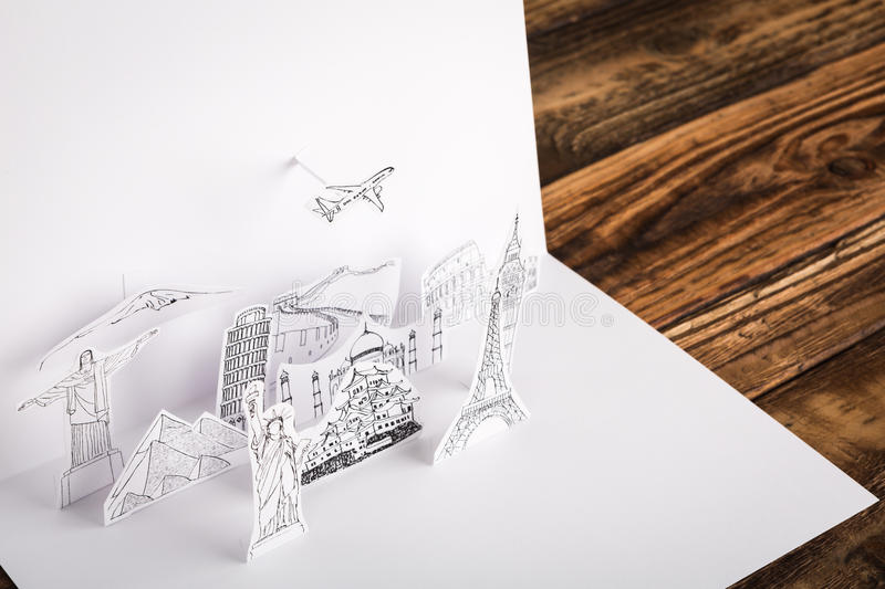 Paper cut (Japan,France,Italy,New York,India,egypt). Paper cut of travel (Japan,France,Italy,New York,India,egypt stock images