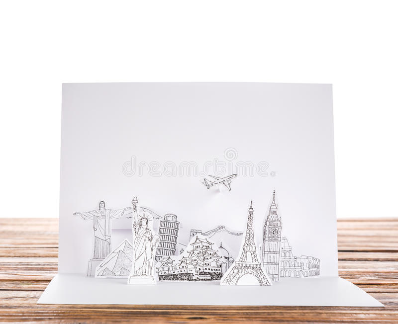 Paper cut (Japan,France,Italy,New York,India,egypt). Paper cut of travel (Japan,France,Italy,New York,India,egypt stock photography
