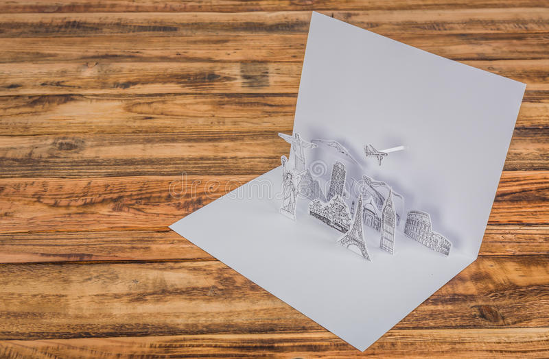 Paper cut (Japan,France,Italy,New York,India,egypt). Paper cut of travel (Japan,France,Italy,New York,India,egypt royalty free stock images