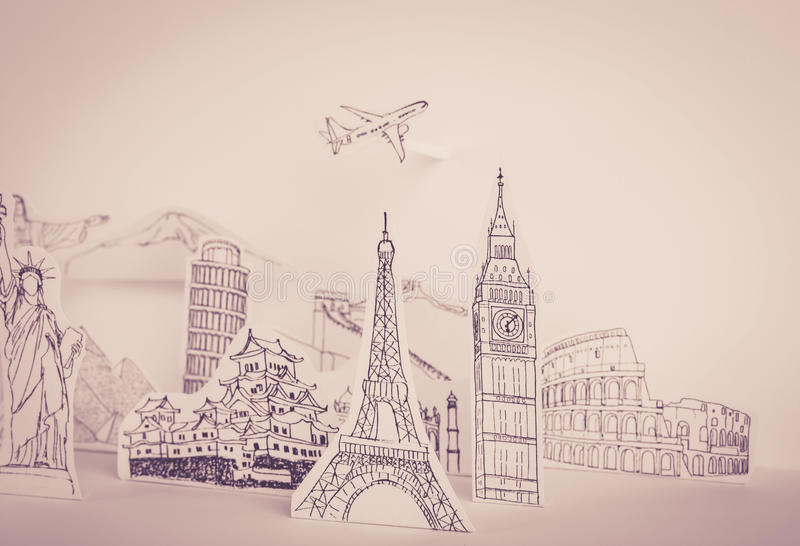 Paper cut (Japan,France,Italy,New York,India,egypt) (. Paper cut of travel (Japan,France,Italy,New York,India,egypt) ( Filtered image processed vintage effect royalty free stock images
