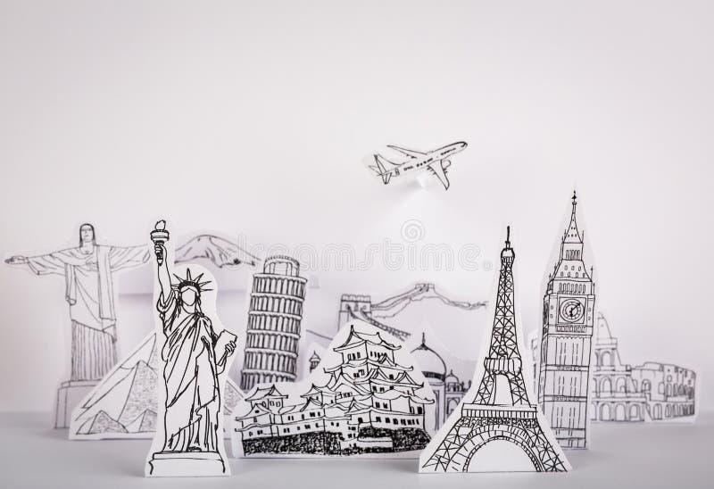 Paper cut l (Japan,France,Italy,New York,India,egypt). Paper cut of travel (Japan,France,Italy,New York,India,egypt stock photo