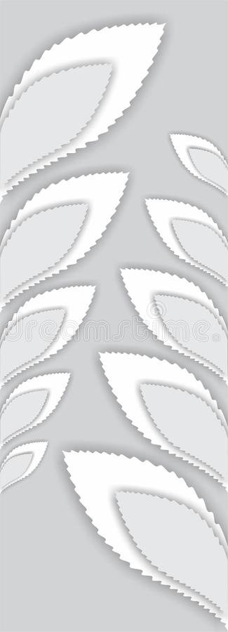 Paper cut Leaves white/grey abstract design shaded background vector illustration stock illustration