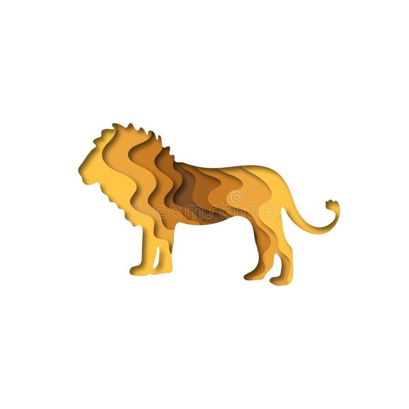 Paper cut lion, safari animals shape 3D origami. Trendy concept fashion design. Vector illustration stock illustration