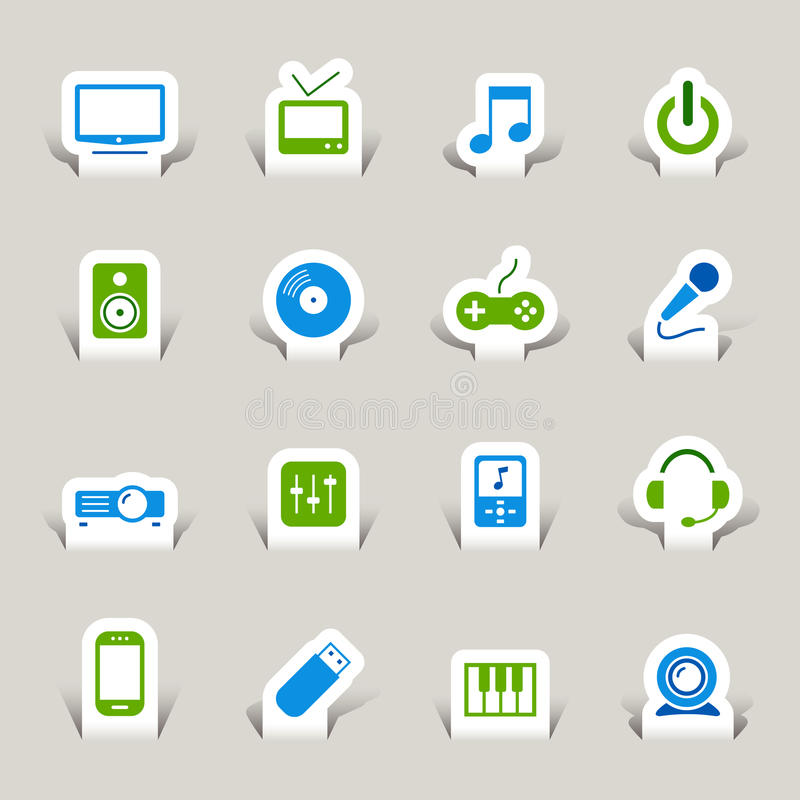 Download Paper Cut - Media Icons stock vector. Image of music - 27426234