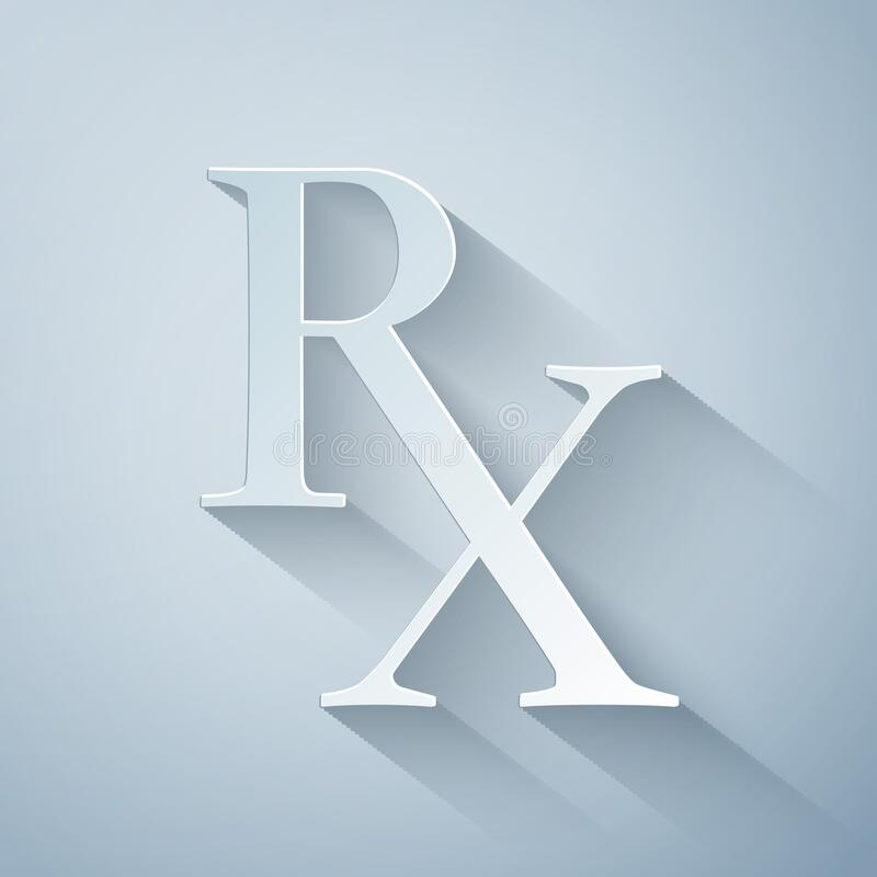 Free Paper Cut Medicine Symbol Rx Prescription Icon Isolated On Grey Background. Paper Art Style Royalty Free Stock Image - 176724356