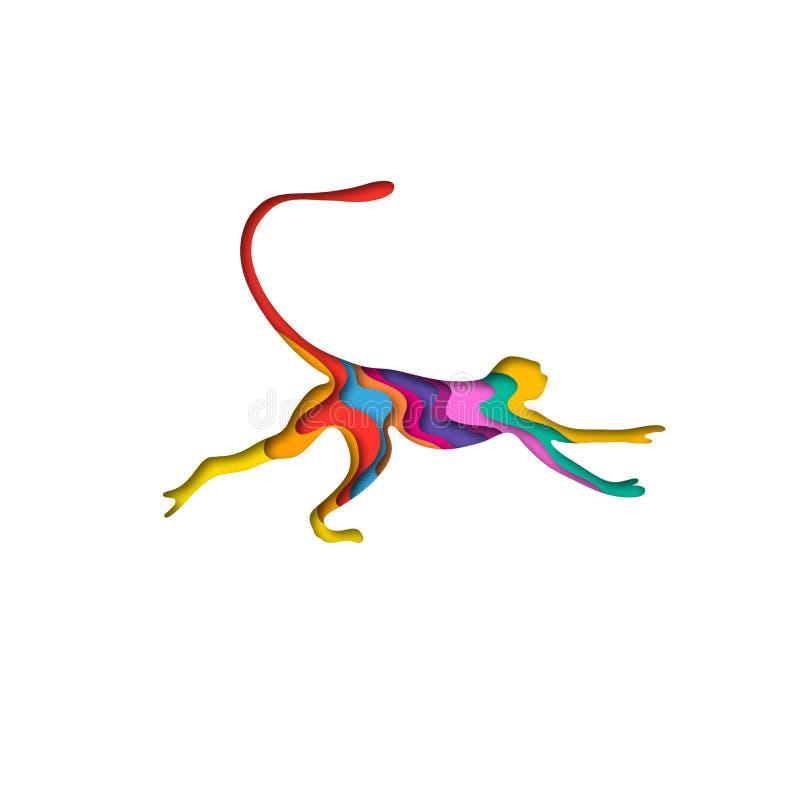 Paper cut monkey, safari animals shape 3D origami. Trendy concept fashion design. Vector illustration. Paper cut monkey, safari animals shape 3D origami. Trendy vector illustration