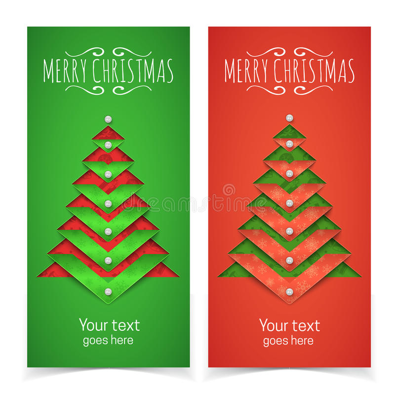 Christmas Tree Made Out Of Paper: Paper Cut Out Christmas Tree And Text Stock Vector