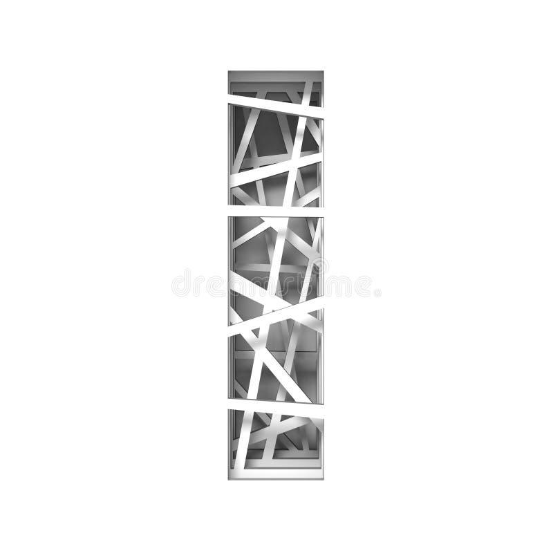 Paper cut out font letter I 3D. Render illustration isolated on white background vector illustration