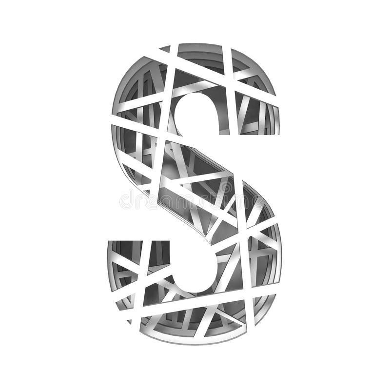 Paper cut out font letter S 3D. Render illustration isolated on white background vector illustration