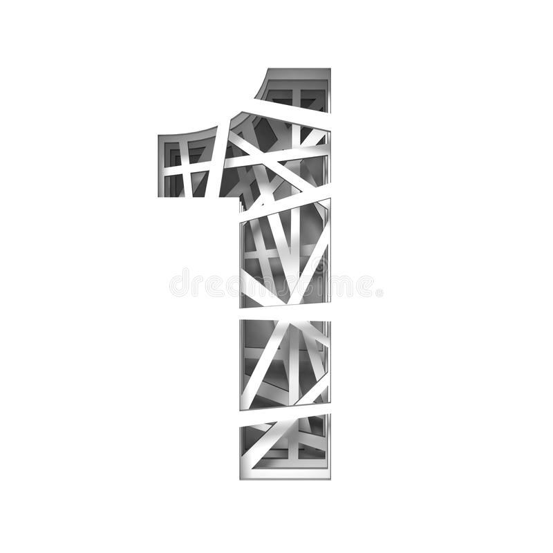Paper cut out font number ONE 1 3D. Render illustration isolated on white background vector illustration