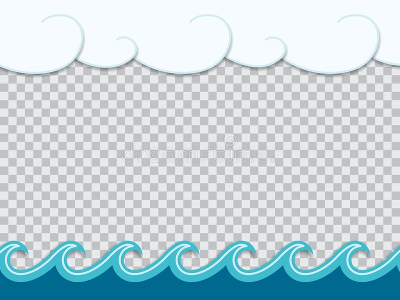Paper cut out frame of waves in origami nautical style vector illustration
