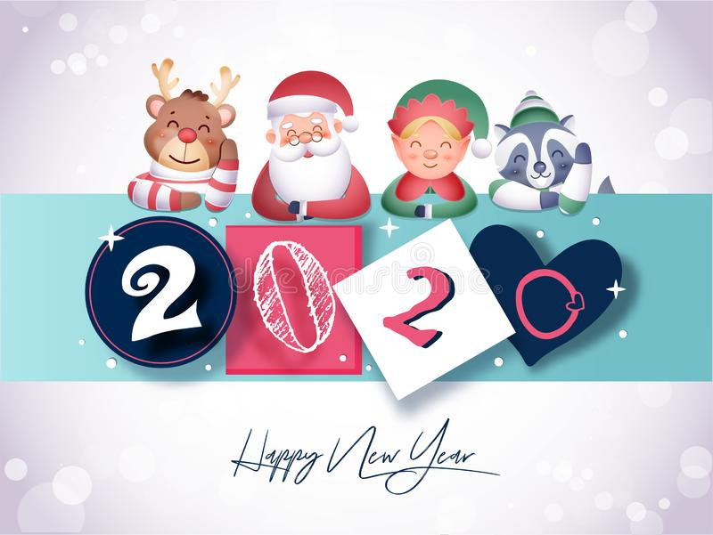 Paper Cut Out 2020 Text in Different Style with Santa Claus, Reindeer, Little Boy and Raccoon Dog Character on Turquoise Strip and. White Bokeh Background for vector illustration