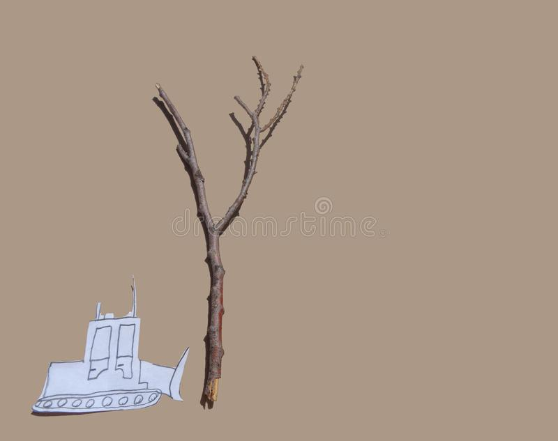 Paper Cut Out Tractor Approaching Tree - Deforestation stock photos