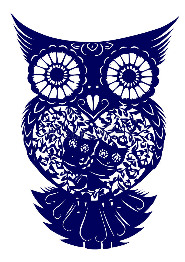 Paper-cut of owl. Traditional Chinese culture, paper-cut of owl