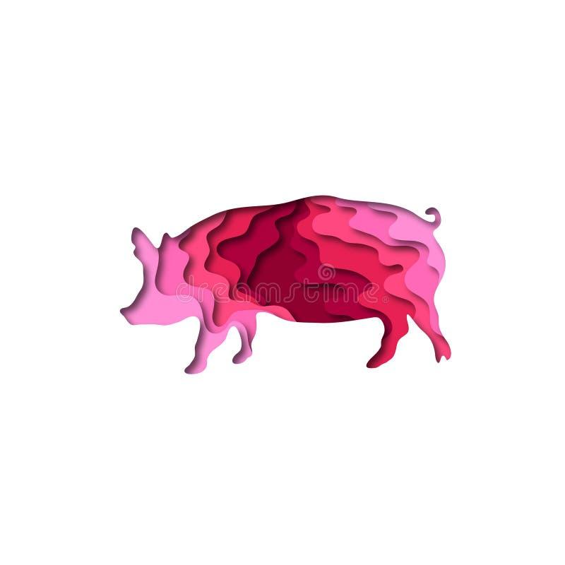 Paper cut pig shape 3D origami. Trendy concept fashion design. Vector illustration. Paper cut pig shape 3D origami. Trendy concept fashion design. Colorful stock illustration