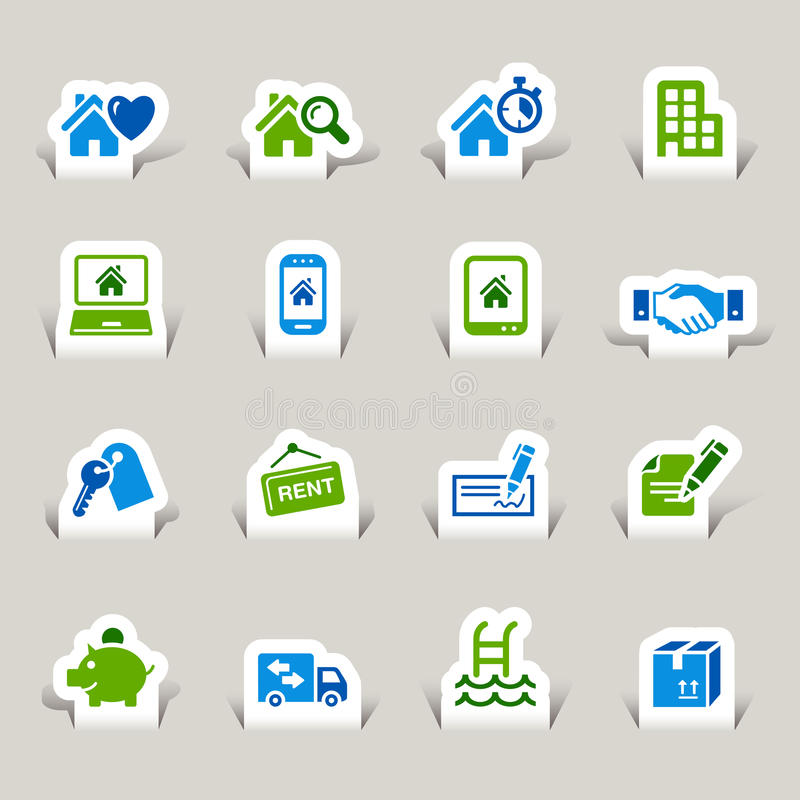 Free Paper Cut - Real Estate Icons Stock Images - 27426594