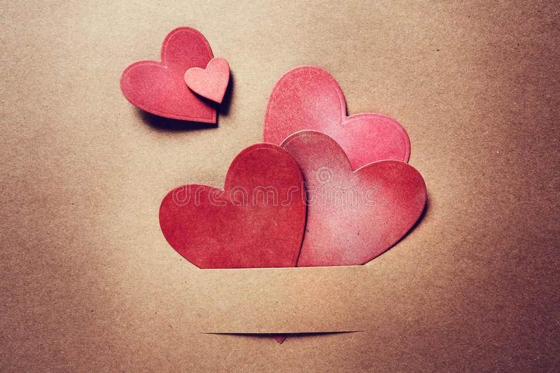 Paper cut red hearts royalty free stock photo
