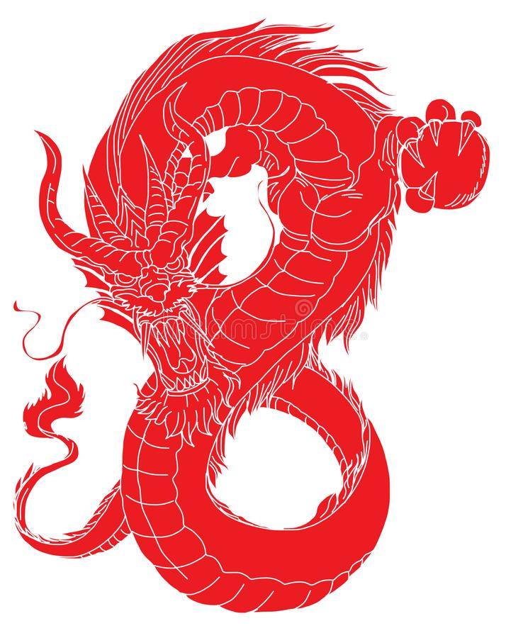Paper cut Red tribal dragon tattoo.Japanese old dragon for tattoo. Traditional Asian tattoo the old dragon vector. Red tribal dragon tattoo.Japanese old dragon royalty free illustration