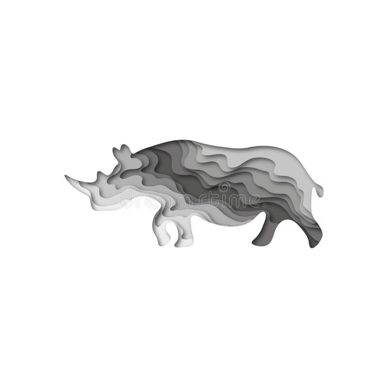 Paper cut rhinoceros, safari animals shape 3D origami. Trendy concept fashion design. Vector illustration. Paper cut rhinoceros, safari animals shape 3D origami vector illustration