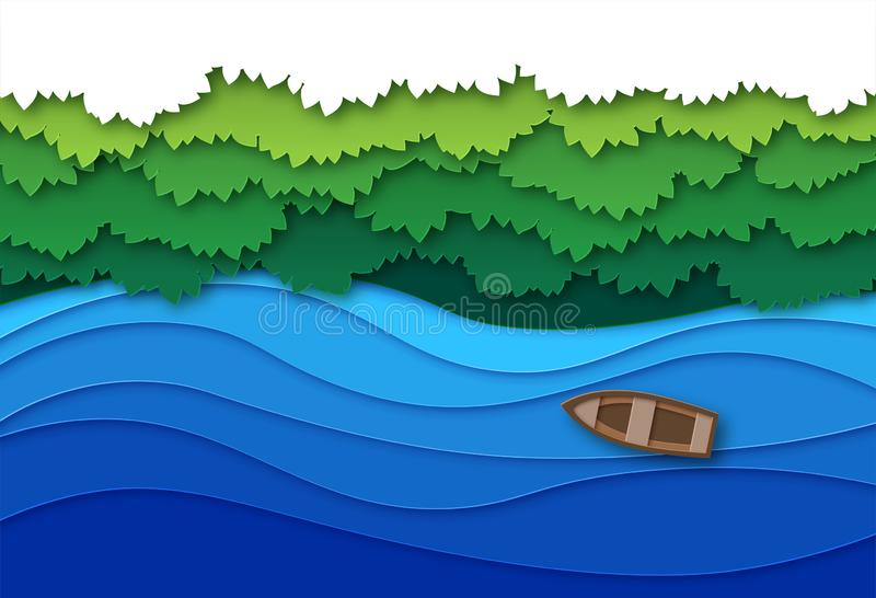 Paper cut river. Top view water stream and green tropical forest trees canopy. Creative origami natural aerial vector. Landscape with boat on blue summer river stock illustration
