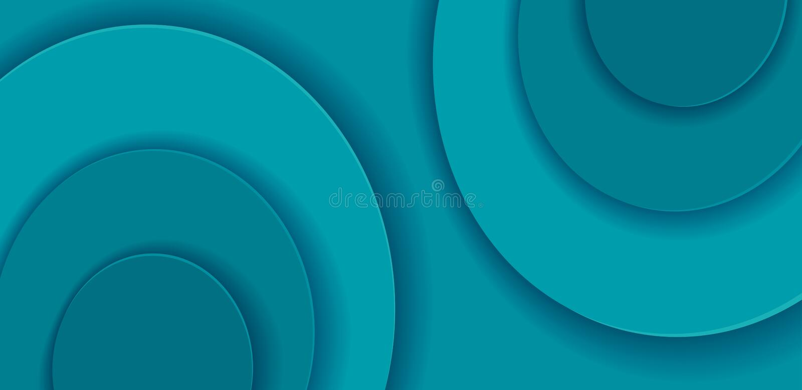 Paper cut Round shapes on horizontal background. Abstract turquoise vector template with multi layers smooth shapes. Modern 3d stock illustration