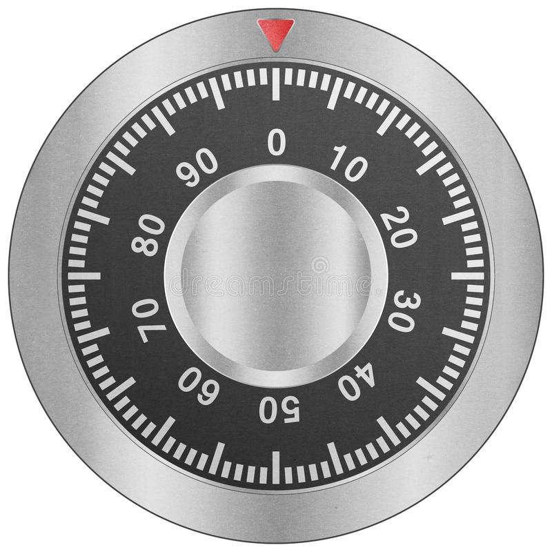 paper cut of safe combination lock is metal dial for