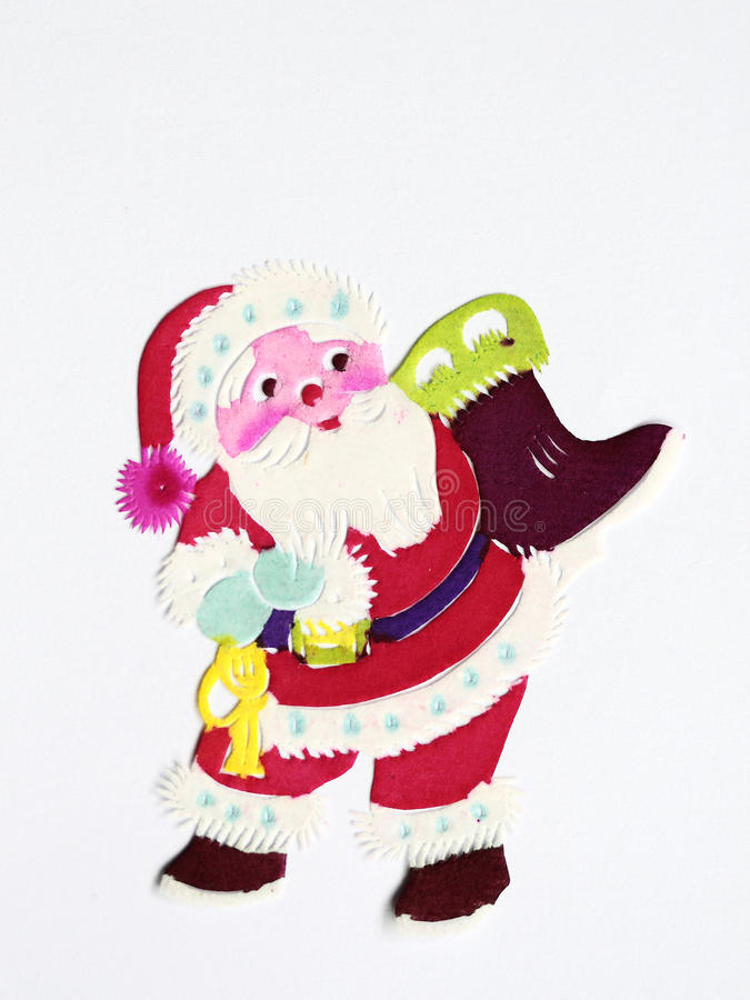 Paper-cut of Santa Claus. Paper-cutting is a traditional Chinese folk art stock photo