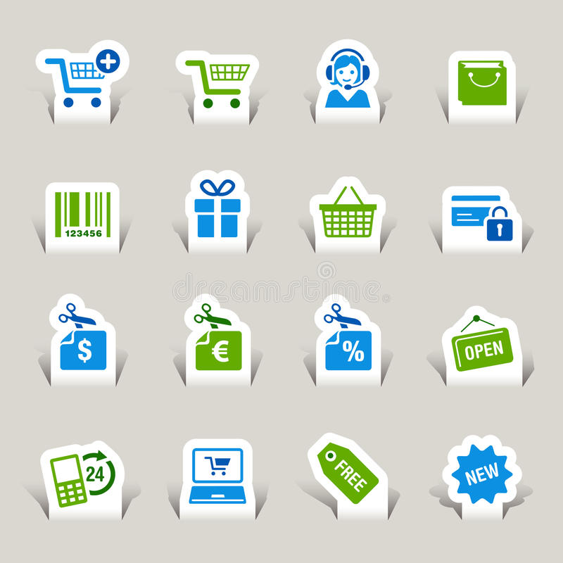 Download Paper Cut - Shopping icons stock vector. Image of barcode - 27426744
