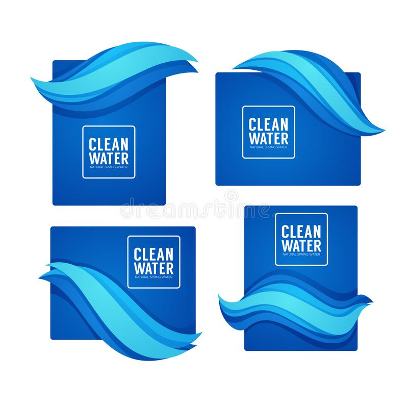 Paper Cut Spring Aqua Flow Vector Design Template For Your Modern Fresh Water Labels, Emblems and Tags royalty free illustration