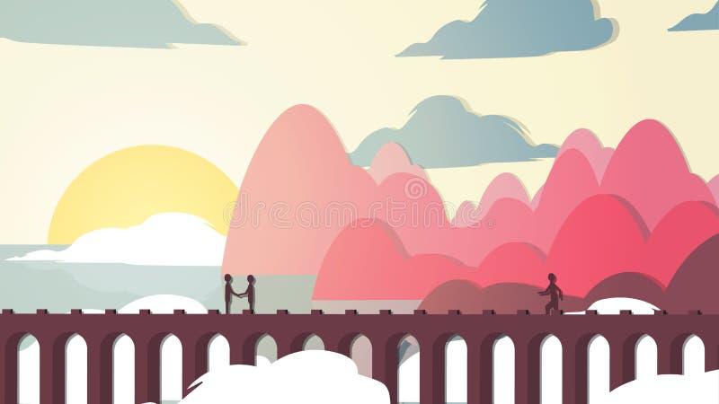 Paper-cut Style Applique Bridge near Coast with People - Vector. Illustration stock illustration