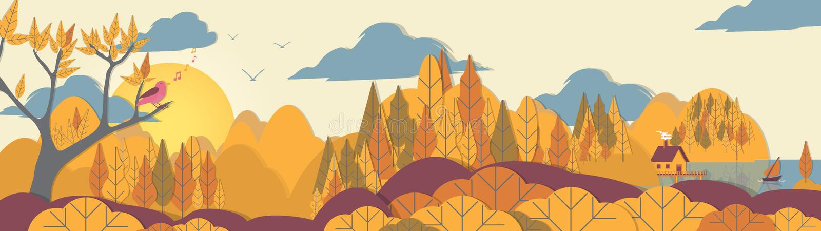 Paper-cut Style Applique Forest Panorama with Small House and Bo. At on Coast royalty free illustration