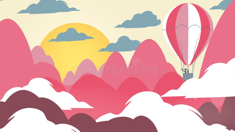 Paper-cut Style Applique Mountain Landscape with Hot Air Balloon vector illustration