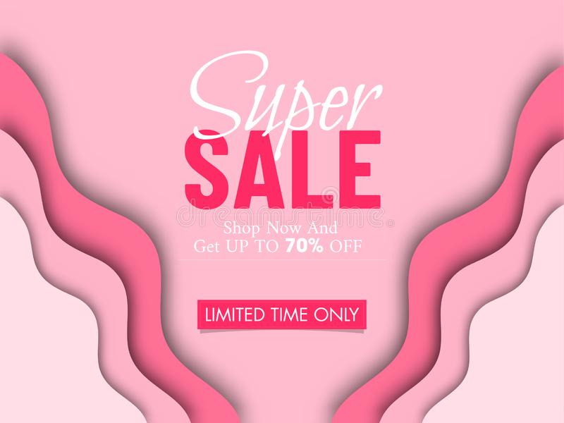 Paper cut style banner or poster design with 70% discount offer. vector illustration