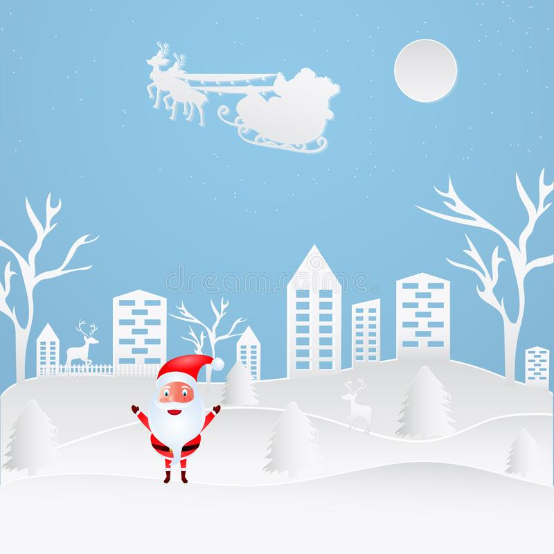 Paper cut style city landscape with cute santa clause on blue ba stock illustration